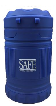 blue rugged emergency two-way lantern with a white SAFE logo