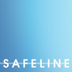dark blue fading into light blue with the word SAFELINE in white on the bottom