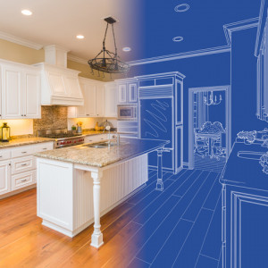 photo of kitchen that fades into blue print