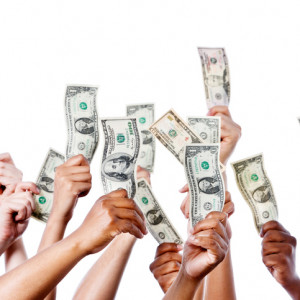 Lots of hands holding money in the air