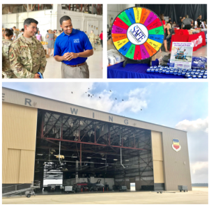 SAFE employee talking with military service man; air force base hanger, and SAFE multicolor prize wheel