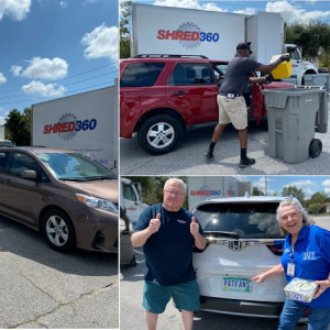 images of cars lined up at SAFE's shred event. Another photo of a volunteer dumping shred into a trash can. Another photo of a SAFE employee and a patron giving a thumbs up.