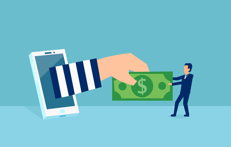arm reaching from phone grabbing money from a man